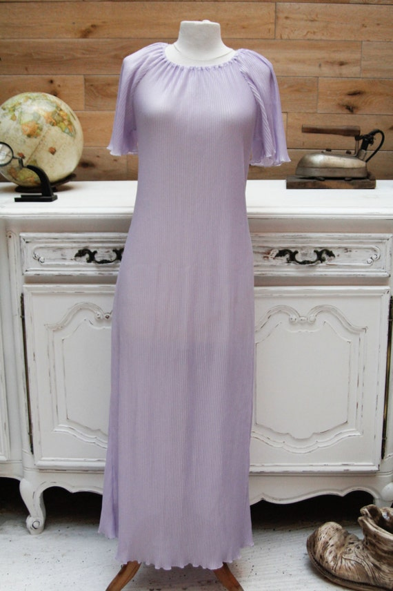 Vintage Transparent Long Sleeping Gown in Light Purple
