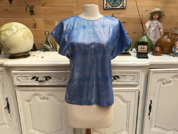 Vintage Shiny Blue Disco Top Size Medium