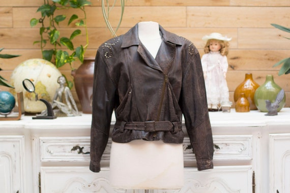 Vintage Soft Brown Leather Jacket with Studs Made by Maddox Leather  Size 38