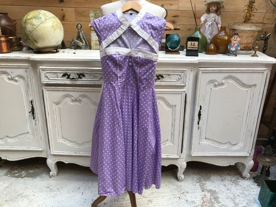 Purple Polka Dot Summer Dress Size X-Small