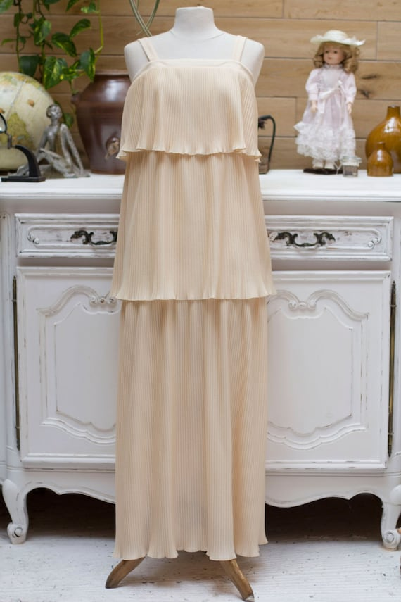 Vintage 1970's Beige Wedding Dress with Layers
