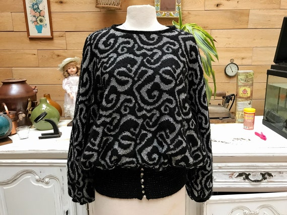 Vintage 1980's Black Sweater with Silver Thread Design