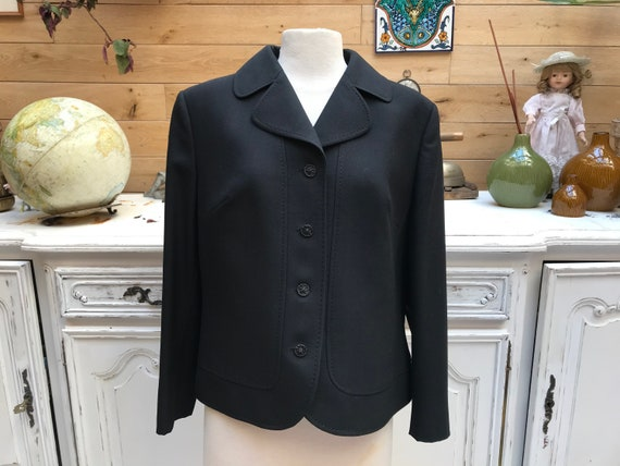 Vintage Short Black Wool Jacket Size Large