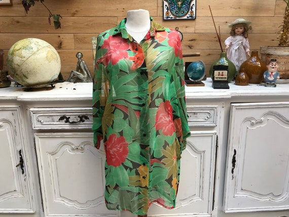 Long Sheer Flower Cover-Up Size Large