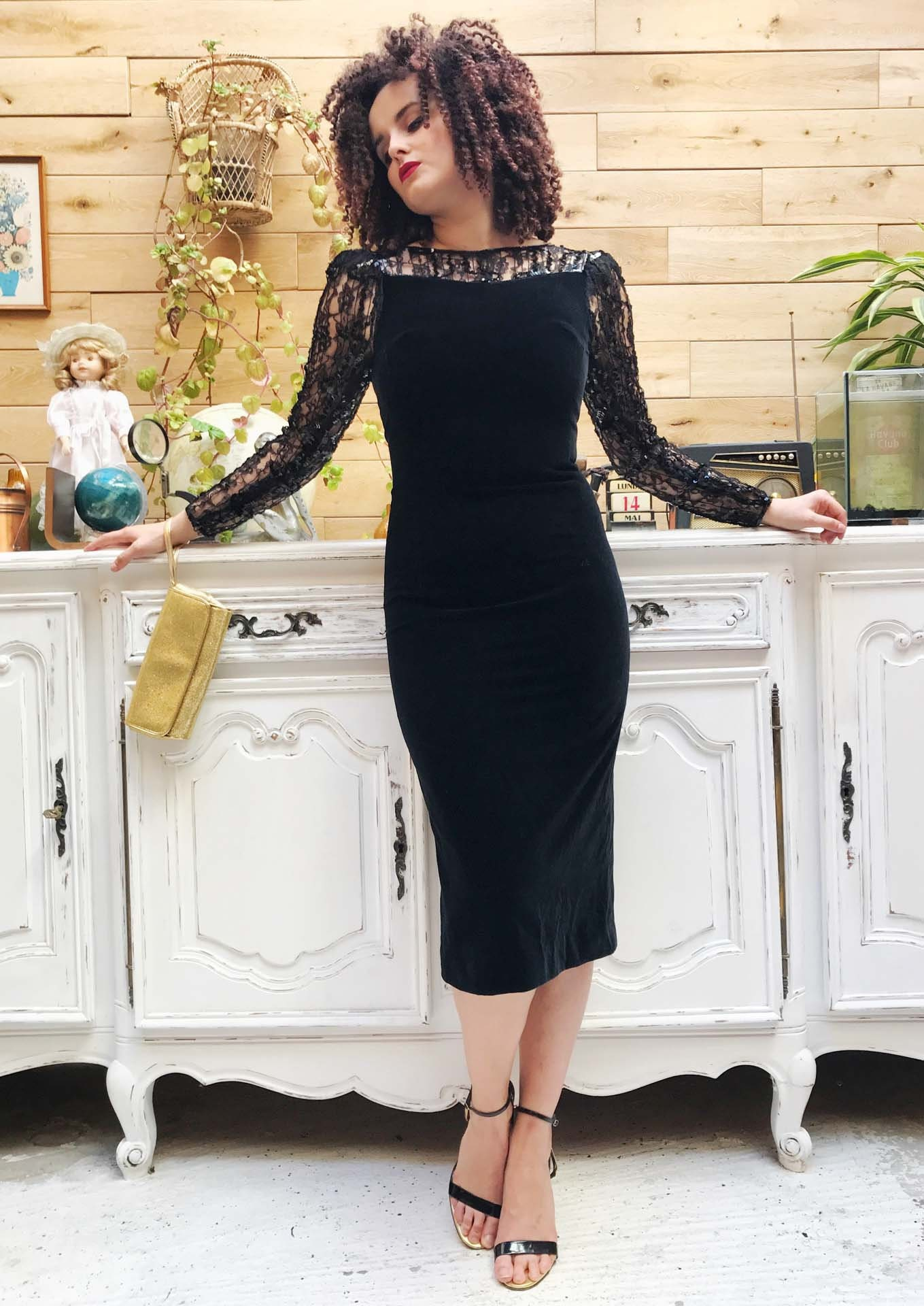 028aba12e50e0 Vintage Sexy Black Velvet Dress with Sequins Size 36/X-Small by Fink Modell
