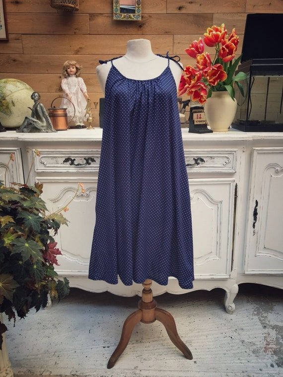Vintage Navy Polka Dot Dress ONE SIZE