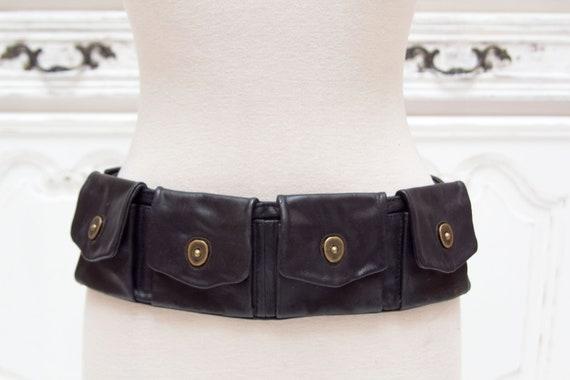 Vintage Leather Belt with Pockets