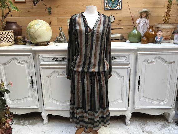 Cotton Striped Set with Golden Thread Size Large
