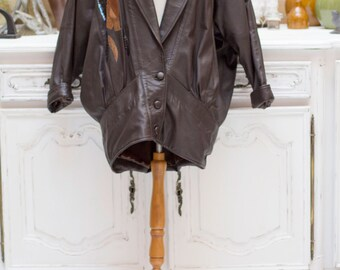 Vintage 1980's Oversized Long Brown Leather Jacket