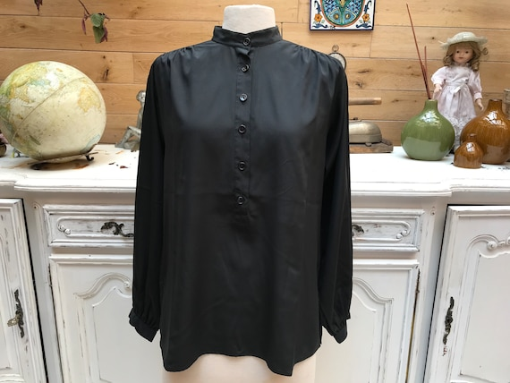 Vintage Black Blouse with Collar Size 40