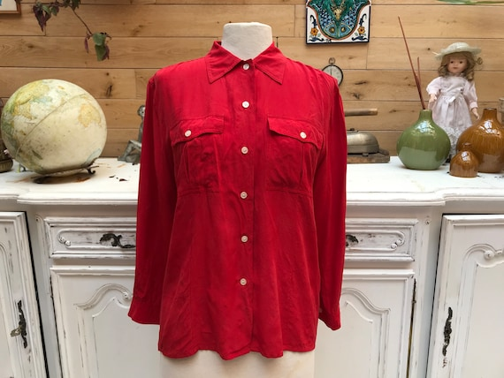 Red Vintage Silk Blouse Size 38/Small