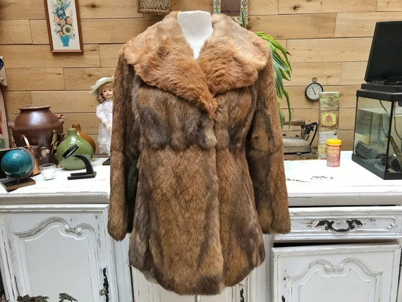 Vintage Brown Shades Fur Coat with A-line Cut