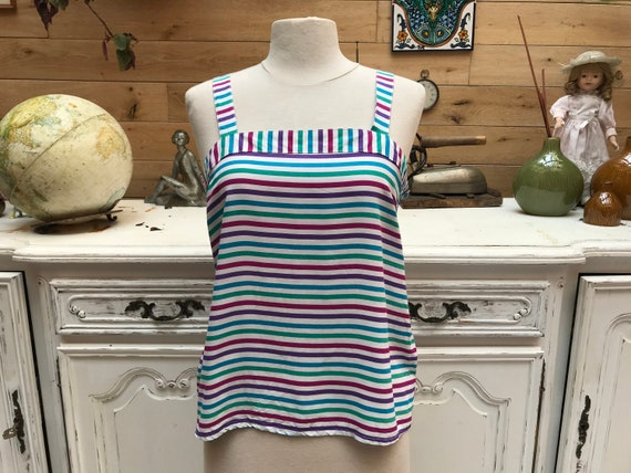 Vintage Summer Top with Stripes Size S/M