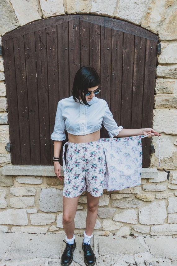 Vintage High Waist Cotton Shorts Overlay Skirt Made by Starlette Size Medium