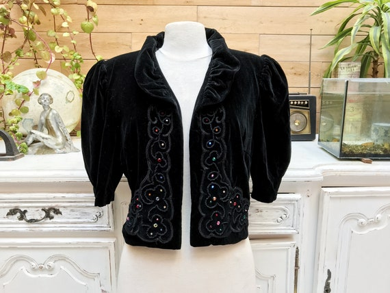 Vintage Short Black Velvet Jacket with Sequins by Hanna Ecker Size 42/Medium