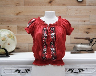Vintage 1970's Red Embroidered Folklore Top