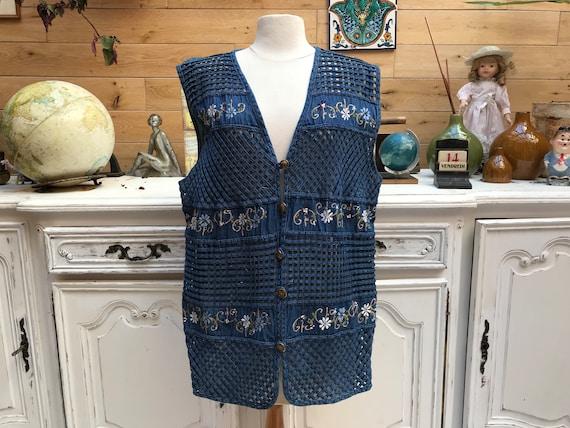 Vintage Embroidered Cotton Jacket Size Large