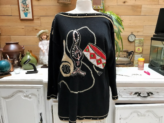 Vingtage 1980's Music Theme Long Sweater