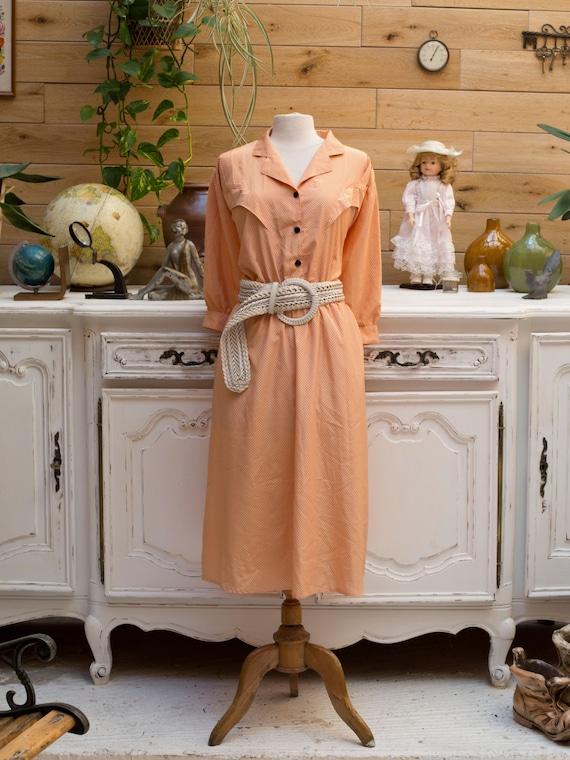Vintage 1970 Orange Polka Dot Dress Size Large
