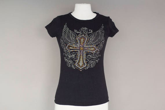 Black Cotton T-shirt with Rhinestone Cross and Wings