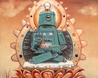 Buddha Bot 6.5 Study, 11 x 14, oils on masonite