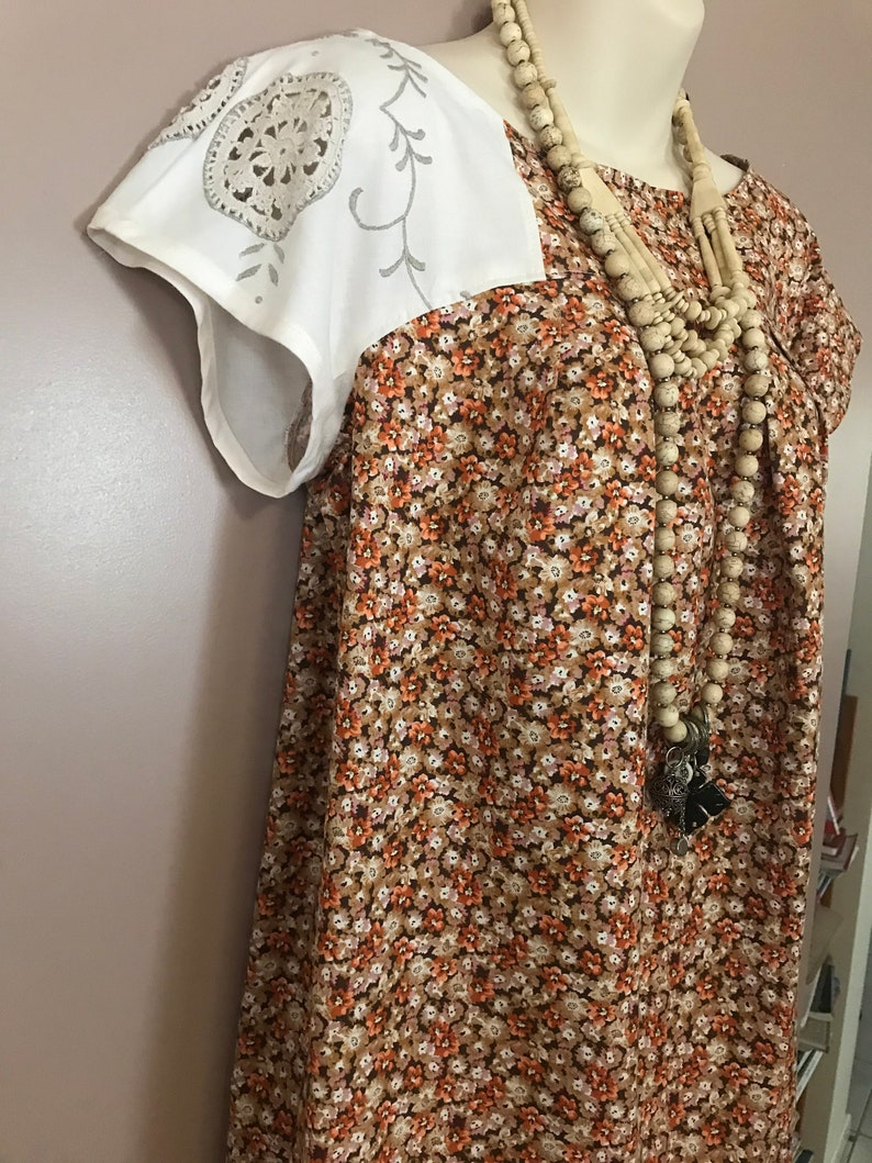 Floral vintage frock brown and  orange floral smock style  cotton with vintage tablecloth feature  with matching belt tie handmade dress