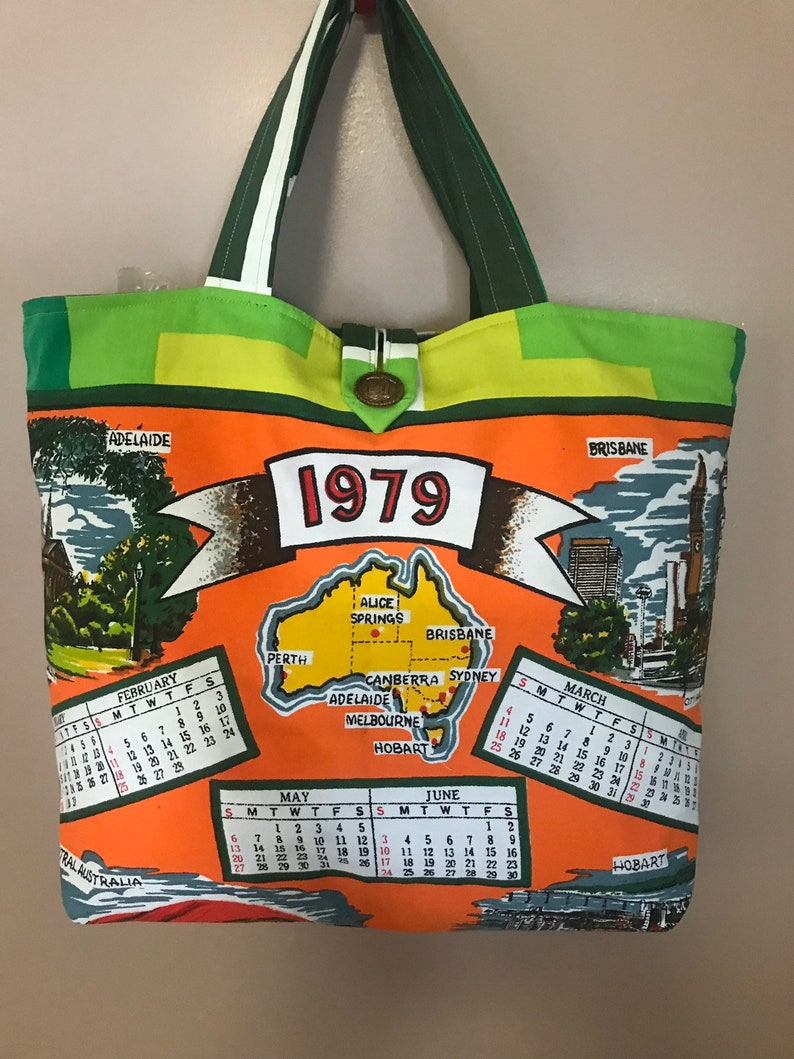 40 th Birthday gift 1979  tote 100/% cotton fully lined with vintage paisley fabric  Calendar 1979 Unique and quirky