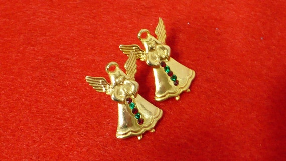 JJ Christmas Angel pierced earrings with red and green rhinestones circa 1980/'s.
