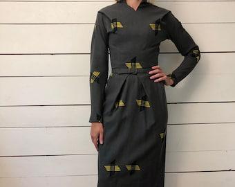Vintage 1940s Wool Belted Pencil Dress