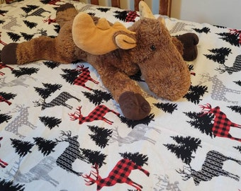 Fitted Flannel Crib Sheet - Beautiful Handmade Red Buffalo Plaid Moose sheets