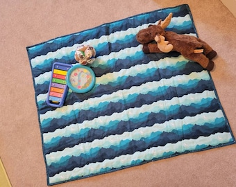 Mountain Nightscape Quilted Play Blues and Greens - Handmade Play Mat