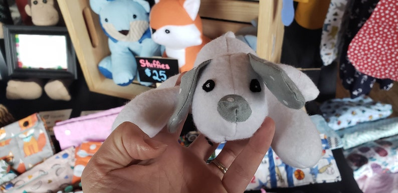 Stuffed Puppy  Handmade Adorable Snuggly Grey White Mini image 0