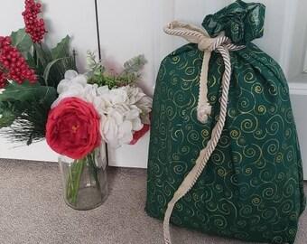 Reusable Fabric Christmas Bags - M