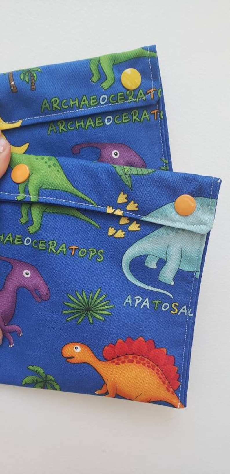 RESERVED for Anna: Dinosaurs  Reusable washable snack bags  image 0