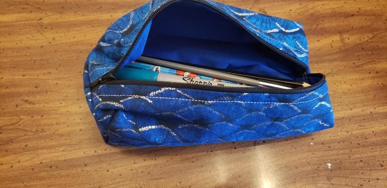 Reusable washable zipper closure pencil cases  blue mermaid image 0