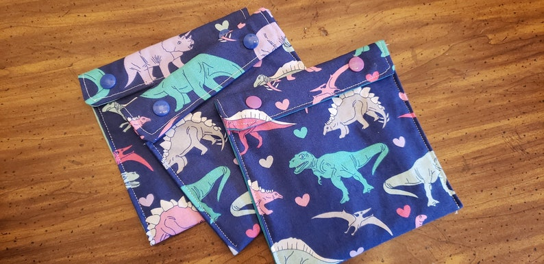 Dinos and Hearts  Reusable washable snack bags  no waste  image 0