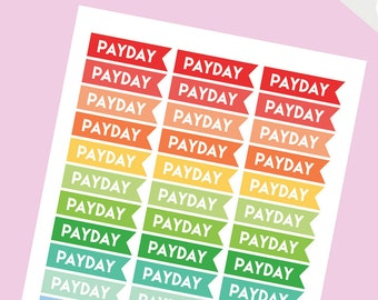Payday Sticker Flags, Pay day stickers, Payday Flag Stickers, Planner Stickers, pay day sticker, multicolor, Bullet Journal Stickers