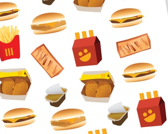 Cheeseburger Stickers, Fast Food Stickers, Fish Sandwich Stickers, Planner stickers, Fry stickers, Burger night stickers, Nugget stickers