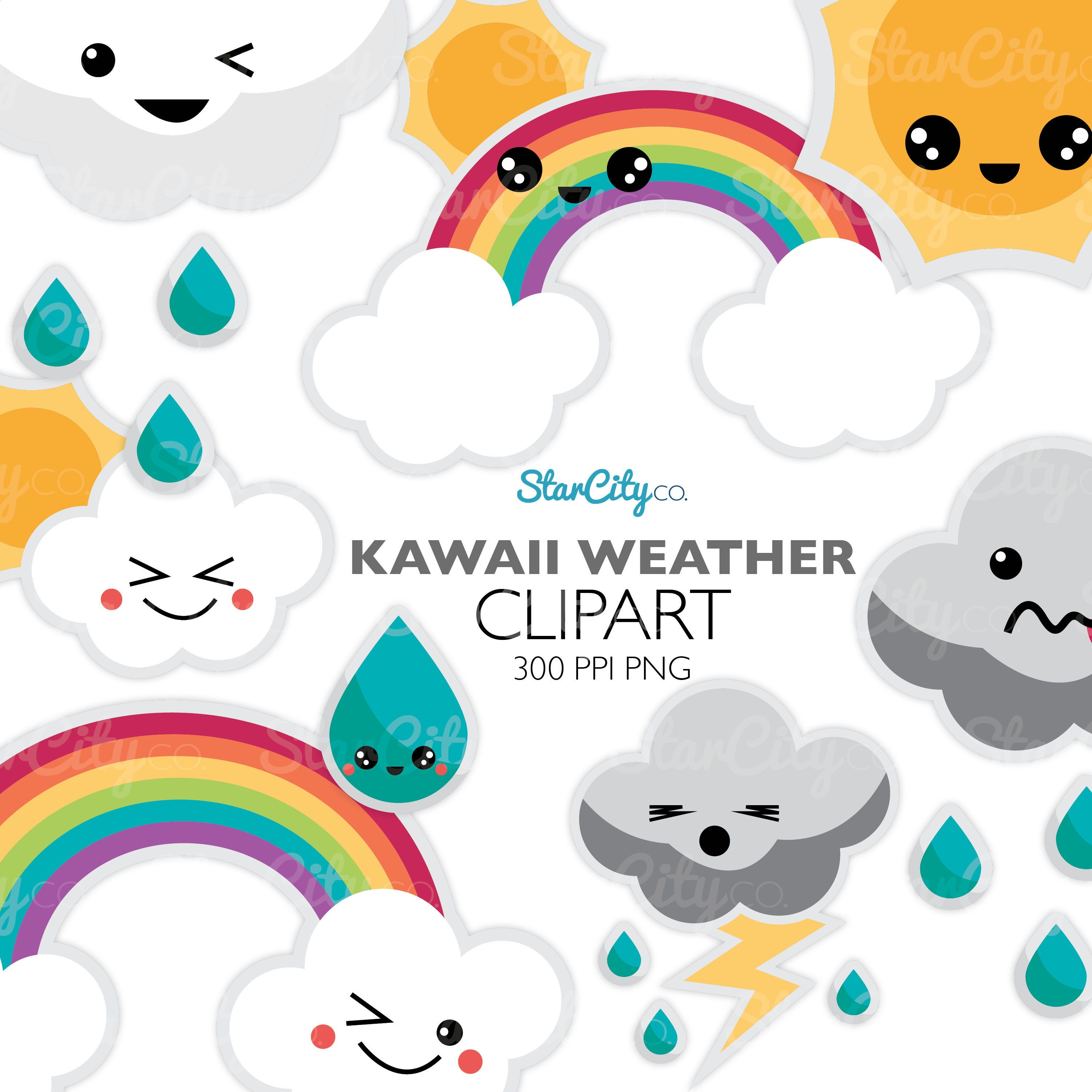 kawaii weather clipart rainbow cloud and storm clip art etsy rh etsy com weather clip art wind weather clipart images