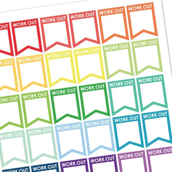 Workout Sticker Sticker Flags Planner Stickers Planner Etsy