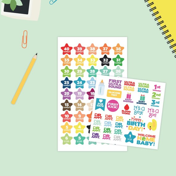 Pregnancy Countdown Stickers Pregnancy Planner Stickers Baby Etsy