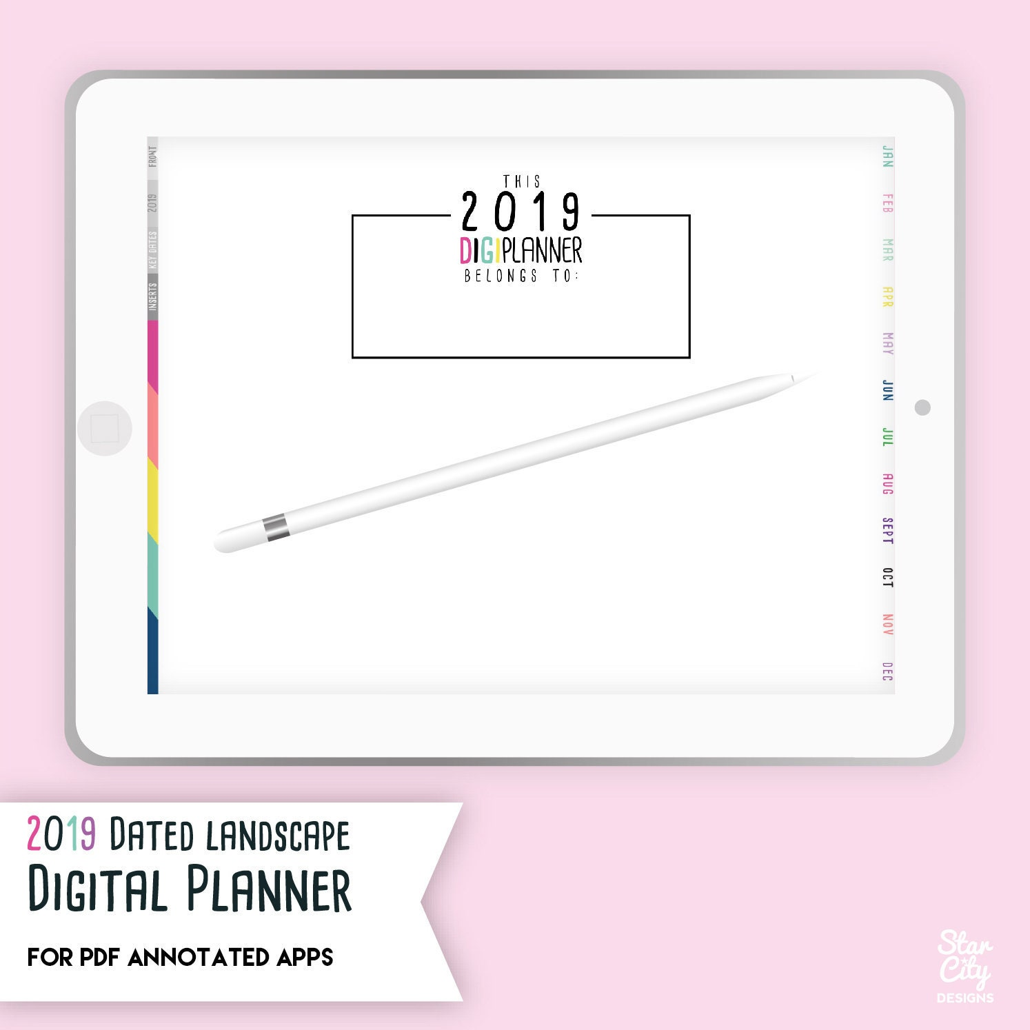 2019 Dated Digital Planner for PDF Annotated Apps, Digi Planner, 2019 Digi  Planner, hyperlinked planner, ipad planner, Digital Stickers