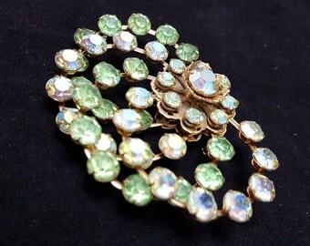Fall SALE Aurora Borealis Rhinestones Brooch Pin 1960's SIGNED LISA Jewels