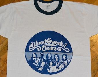 1974 BLOOD SWEAT & TEARS vintage concert tour rare original jazz r+b rock t-shirt ringer (M/L) Large 70s 1970s tee tshirt GiFT
