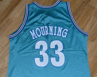 027a80548 1990 s CHARLOTTE HORNETS   AlONZO MOURNiNG  33 vintage original nba  basketball jersey shirt (XL) X-Large Champion Brand Miami Heat vtg GiFT