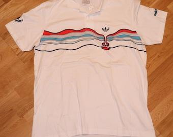 db037803c12f85 1980 s ADIDAS POLO Ivan Lendl Face rare vintage tennis striped trefoil  white shirt MiNT (XL) X-Large Aggassi Bjorn Borg Fila Nike GiFT