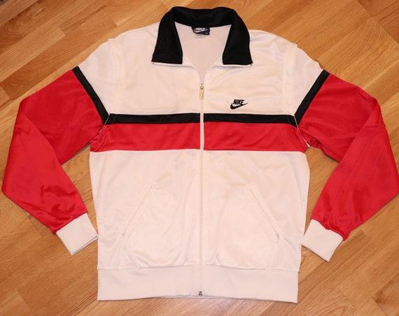 1980's NIKE vintage striped track jacket vest (LXL) White Black Red 80's Vtg Michael Jordan Chicago Bulls Run Dmc Adidas Hip Hop Shirt GiFT