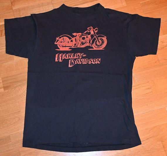Vintage 80s FREDD WARR London Harely Davidson T-Shirt Size Medium dealership tee double sided screen stars single stitch 3D emblem