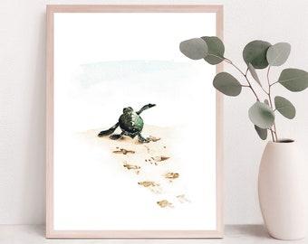 Green Sea turtle decor, sea turtle wall art, sea life watercolor, Turtle Painting, sea turtle nursery, sea turtle watercolor sea turtle gift