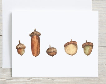 Acorns Note Card,  Autumn Watercolor Stationary set, Fall card set of 4 or 8, Acorn Varieties, Card with Envelopes, Folded Blank Note Cards
